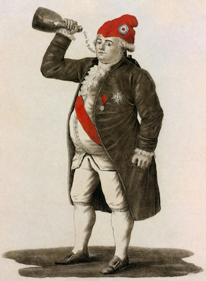 Louis XVI, dressed in culottes, drinks a toast to the sans-culottes