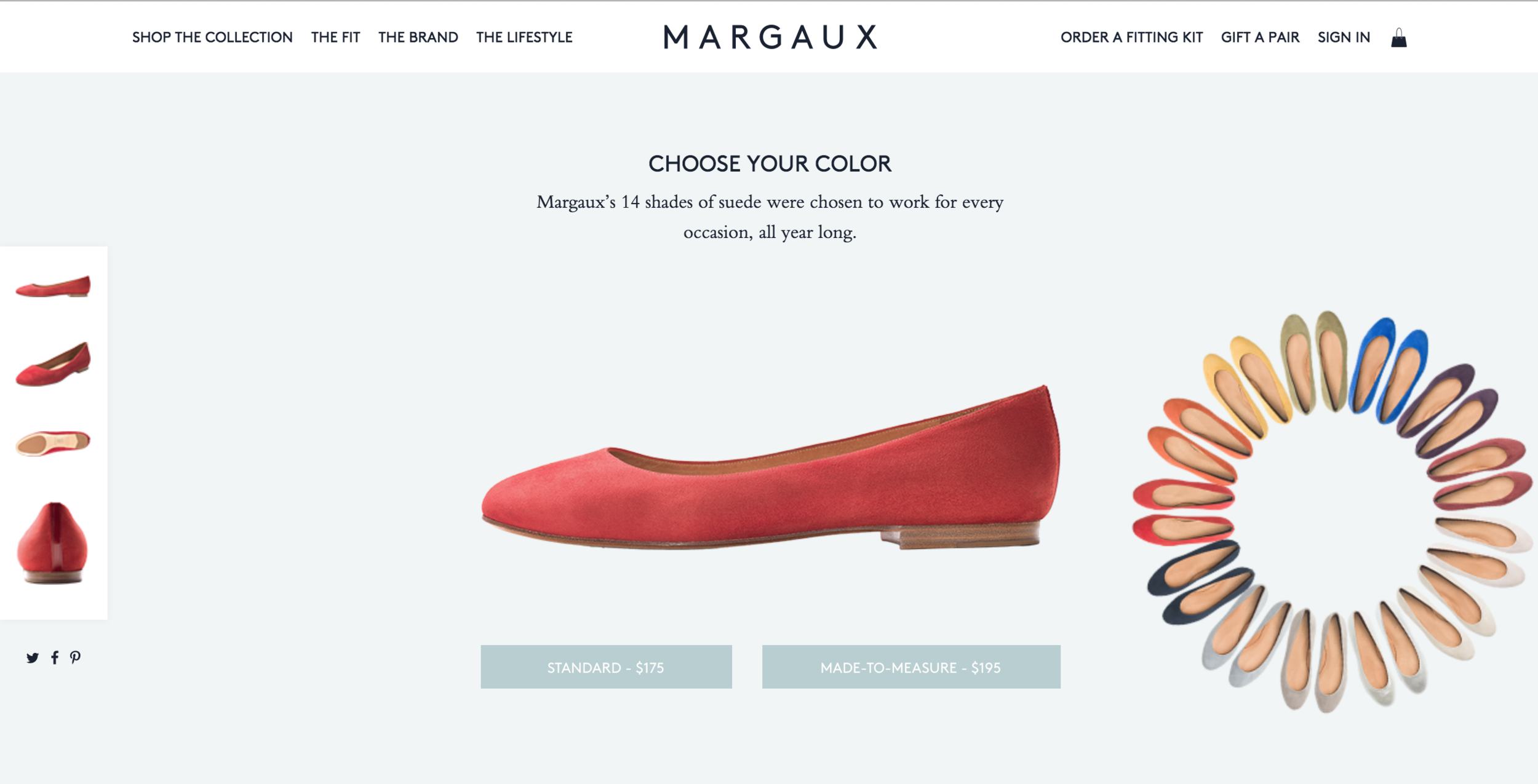 Standard and custom sized flats by Margaux