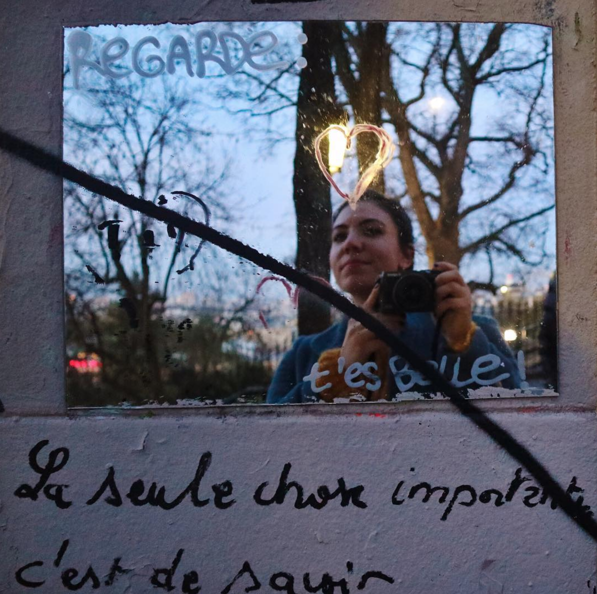 """Regarde: t'es belle. - Growing up, I took a window marker to all of my mirrors and scribbled quotes and doodles. Some highlights included Marilyn Monroe, The Beatles RENT, and the famous B. Davis coda from One Tree Hill (because I was 15, OKAY?!?!?!) They were acts of affirmation. But they were also a way to cover up; to fragment and alter what I saw in the mirror with something I thought was better.I spent most of my teen years feeling really uncomfortable in my body. And, I don't talk about it much on the internet because it's, well, v uncomfy! I used to stand in front the mirror where Marilyn told me to smile and John told me to Let It Be and feel just a little more okay. My relationship with my body has changed a lot over the last 10 years (🙌🏻🙌🏻). But, occasionally I find myself looking into mirrors searching for Marilyn or John or B. Davis to tell me something I already know.So, why share all of this? Because I know I'm not the only one who looks into mirrors for something other than themselves occasionally. Because diet culture in the new year is seriously MESSED UP. Because I know there's a girl out there who doesn't have a magic marker to plus up her mirrors and needs someone to say, """"Look, I understand."""" But, mostly to say, """"Regarde: t'es belle."""" *look, you are beautiful*✨"""