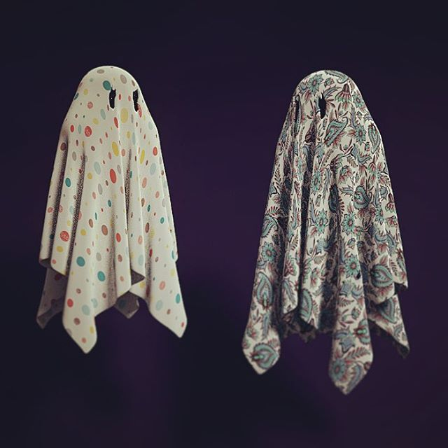 Having a blast learning Blender. I made these two little beetlejuice inspired ghosties tonight. So fun! 👻 👻 . . . #blender #blender3d #3dart #3drender #cloth #ghost #ghoststories #beetlejuice #betelgeuse #80s #80skid #floating #atmosphere #texture #characterdesign #render #bedsheets #halloween #darkart #darkarts #cute #polkadot #paisley #designboom #designspiration #designmilk #designsponge #designlife #spooky #spirit