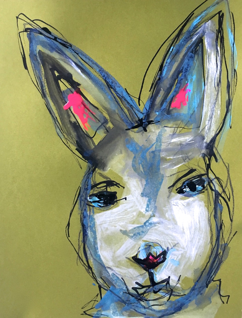 "Bunny Green,12""x12"", Acrylic and Ink on Paper"