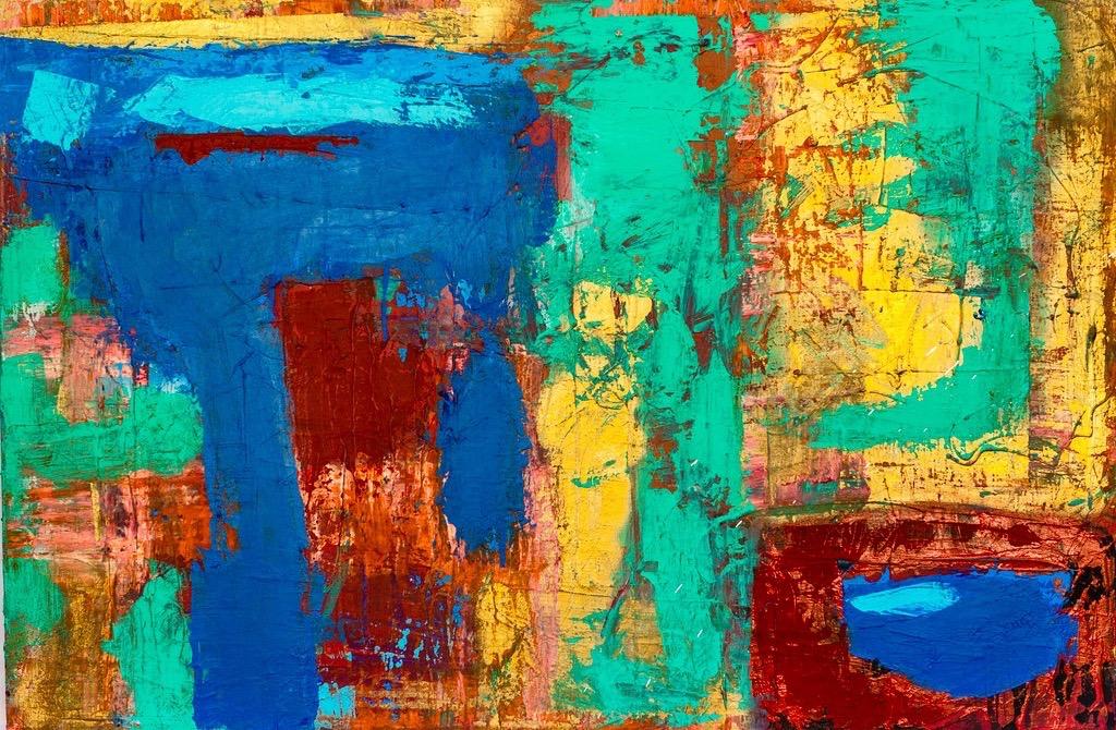 "Primary Jars: 40""x30"", Acrylic on canvas"