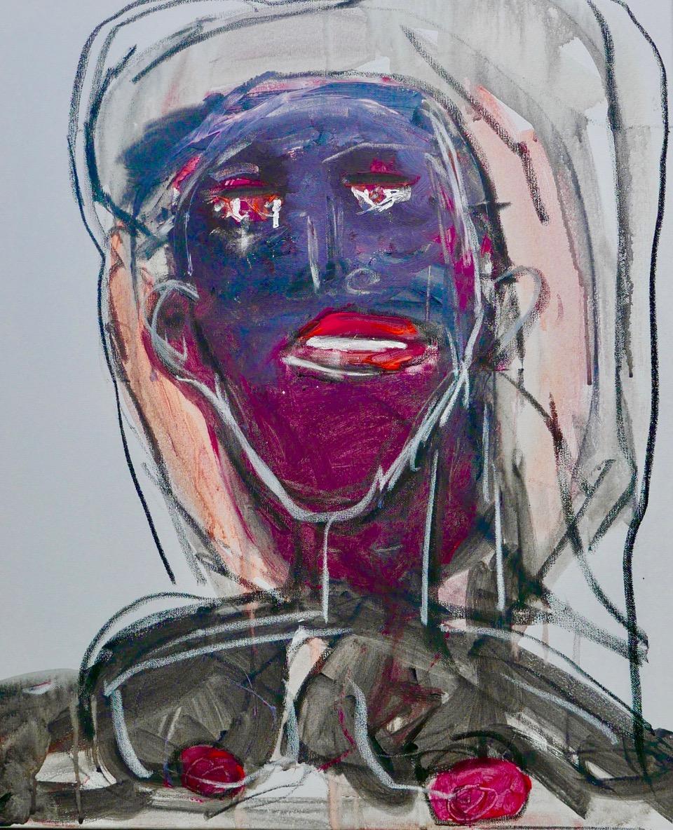 """Purple Face, 20""""x24"""", Acrylic on canvas"""
