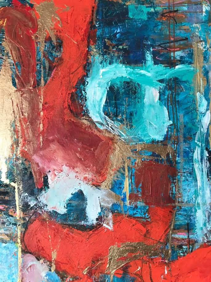 "Abstract Orange: 30""x48"", Acrylic on Canvas"