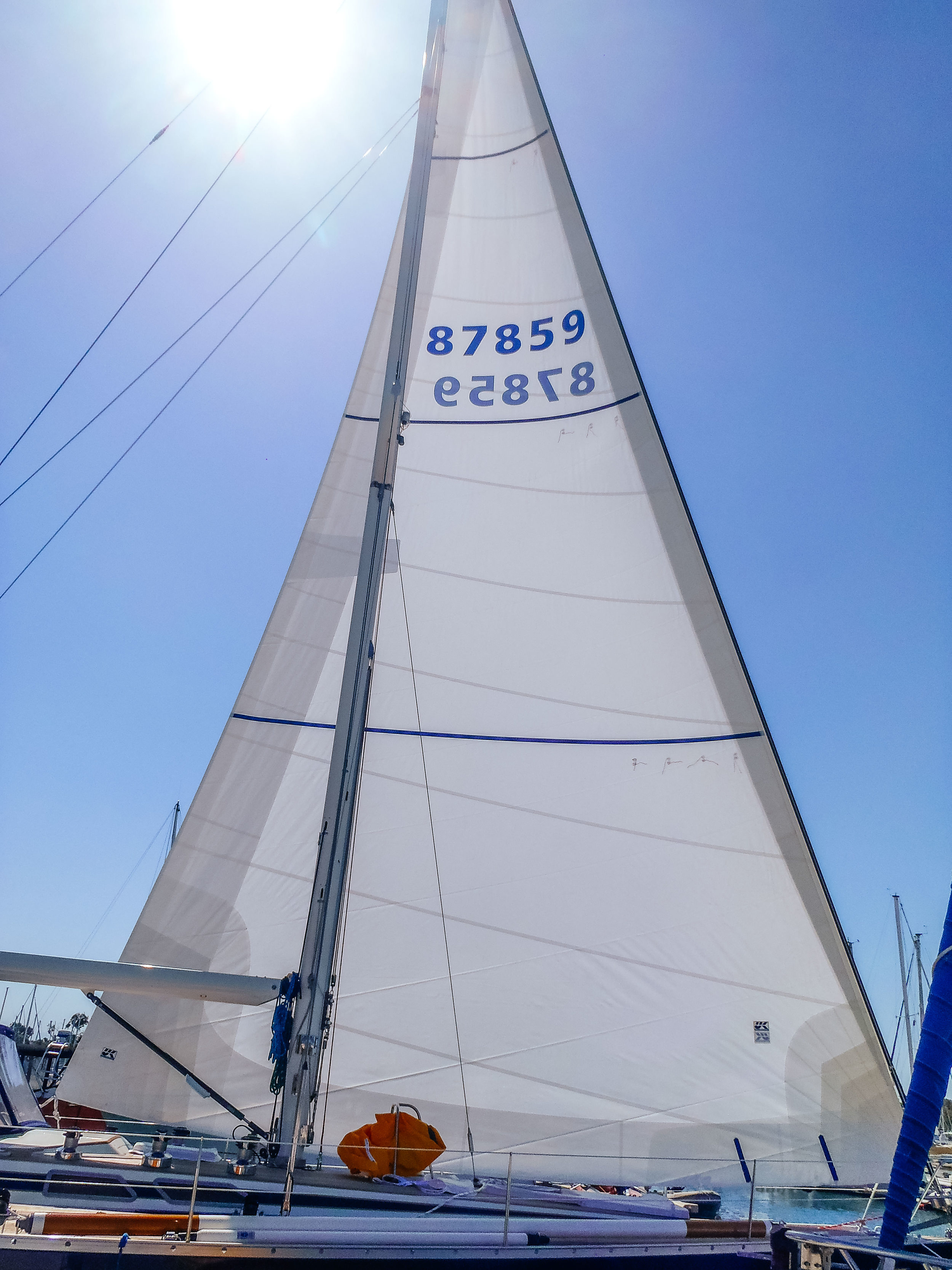 UK Sailmakers Passagemaker Dacron genoa with foam luff, reef reinforcements and UV leech and foot covers.