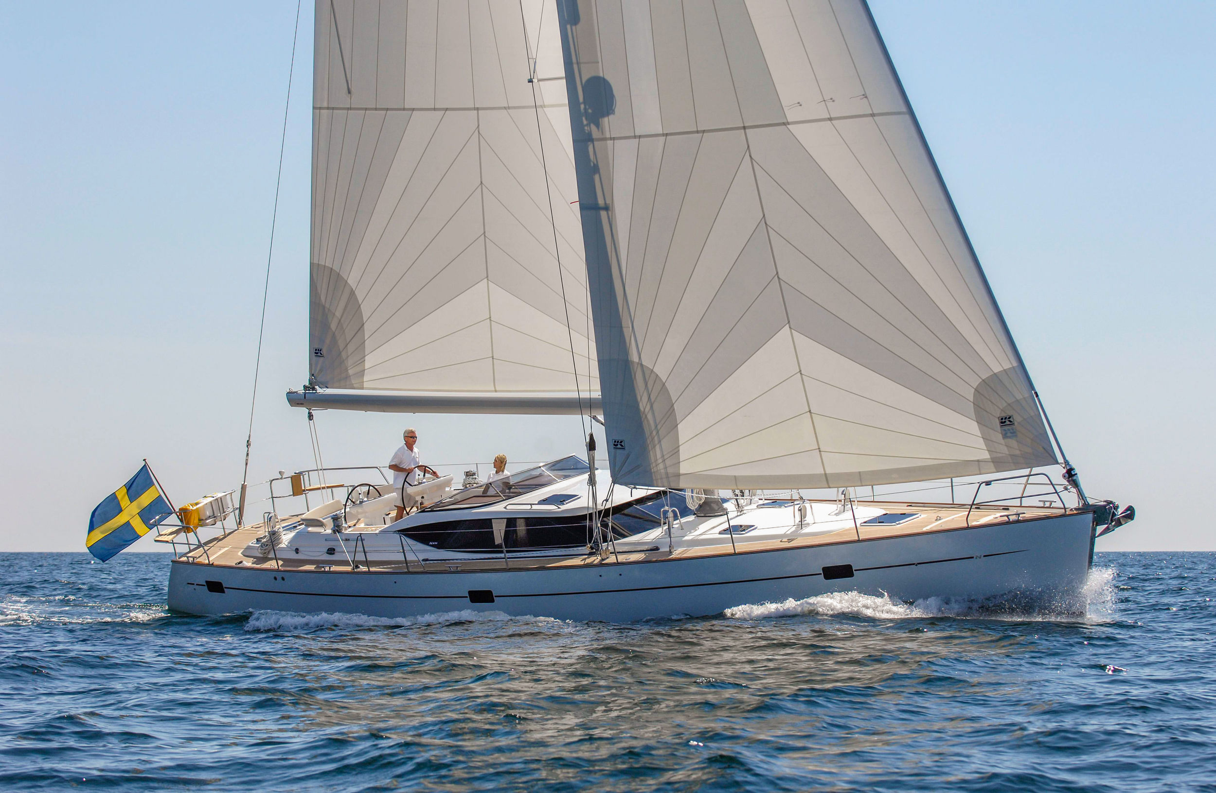 A Najad 570 with radial Spectra roller-furling performance cruising sails.