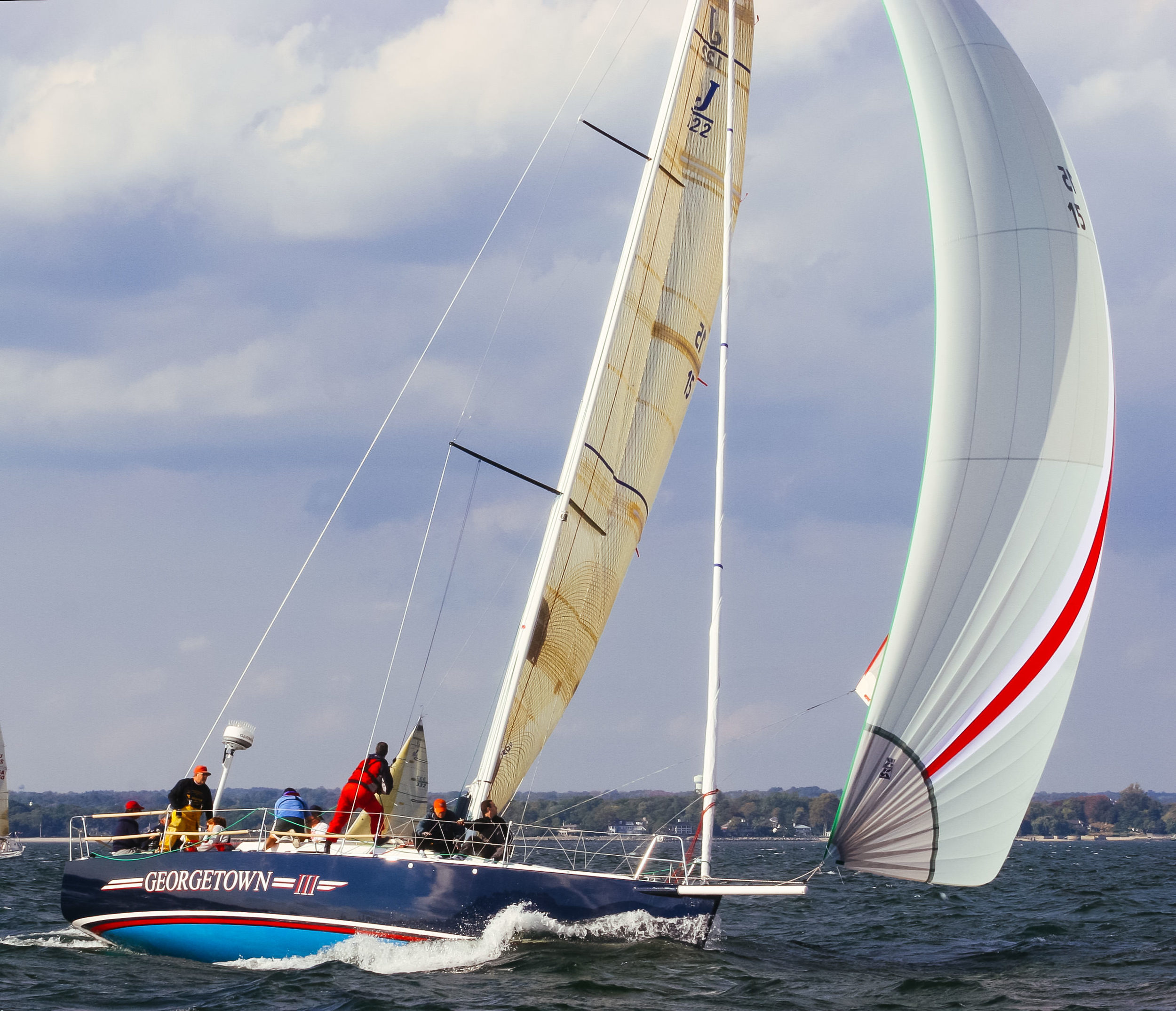 A J/122 sailing with her A3; notice how flat it is.