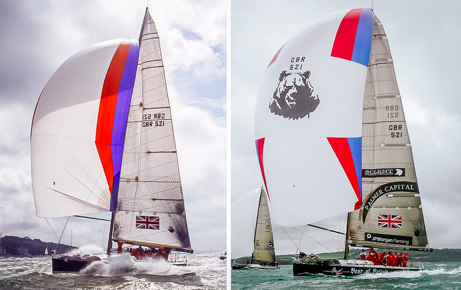 Both photos show the Farr 52 BEAR OF BRITAIN. On the LEFT she is sailing with her S5 flown from the hounds and on the RIGHT she is flying her S4 from the masthead. Notice how much smaller the S5 is.