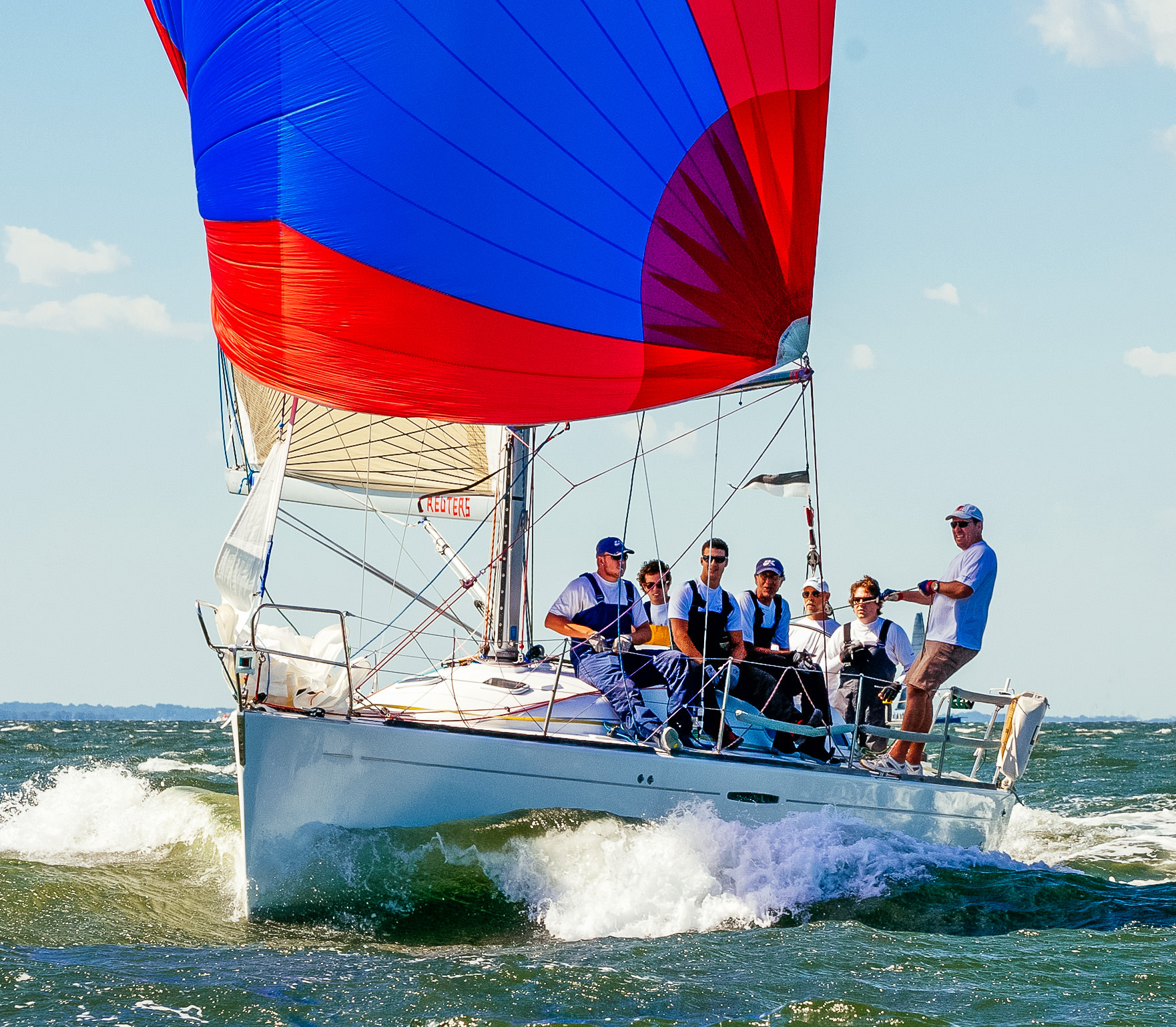 A Beneteau First 36.7 blasting downwind with an S4.