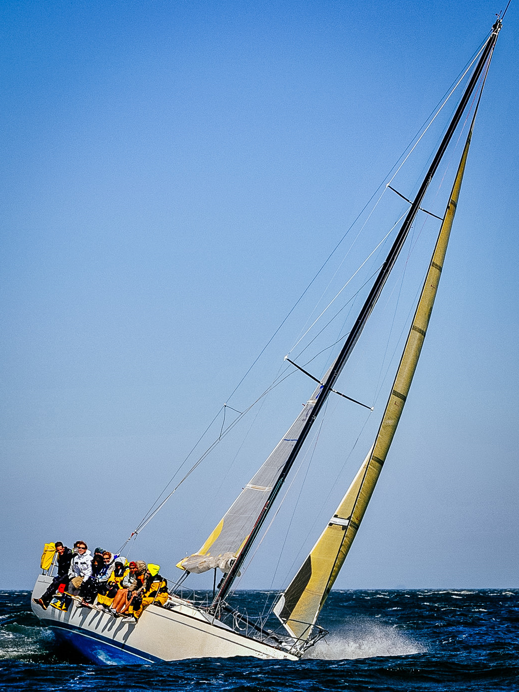 An Express 37 sailing with a Kevlar No. 4 genoa and two reefs in 35 knots of wind.
