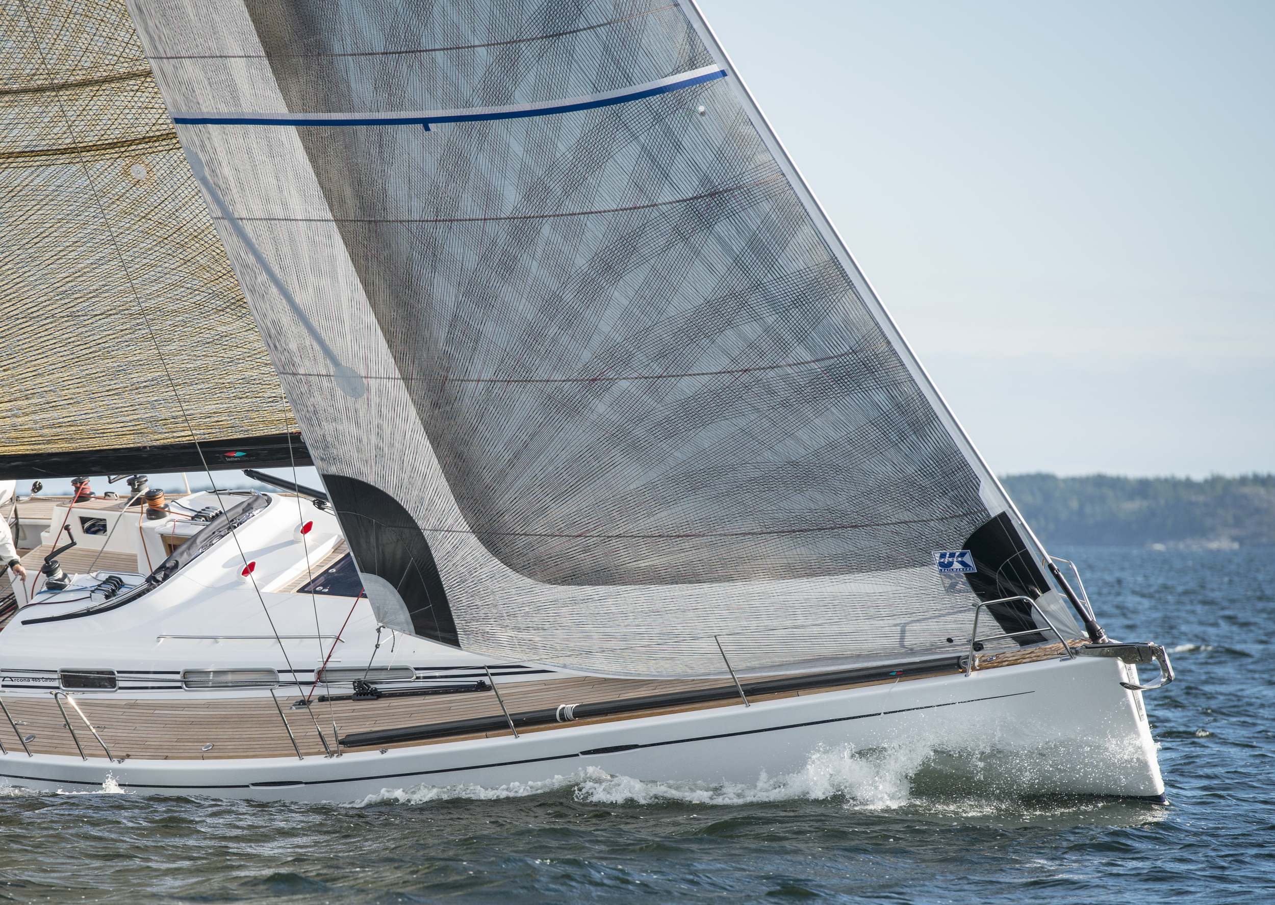 Arcane 465 Carbon sailing with an X-Drive Carbon furling jib with vertical battens.