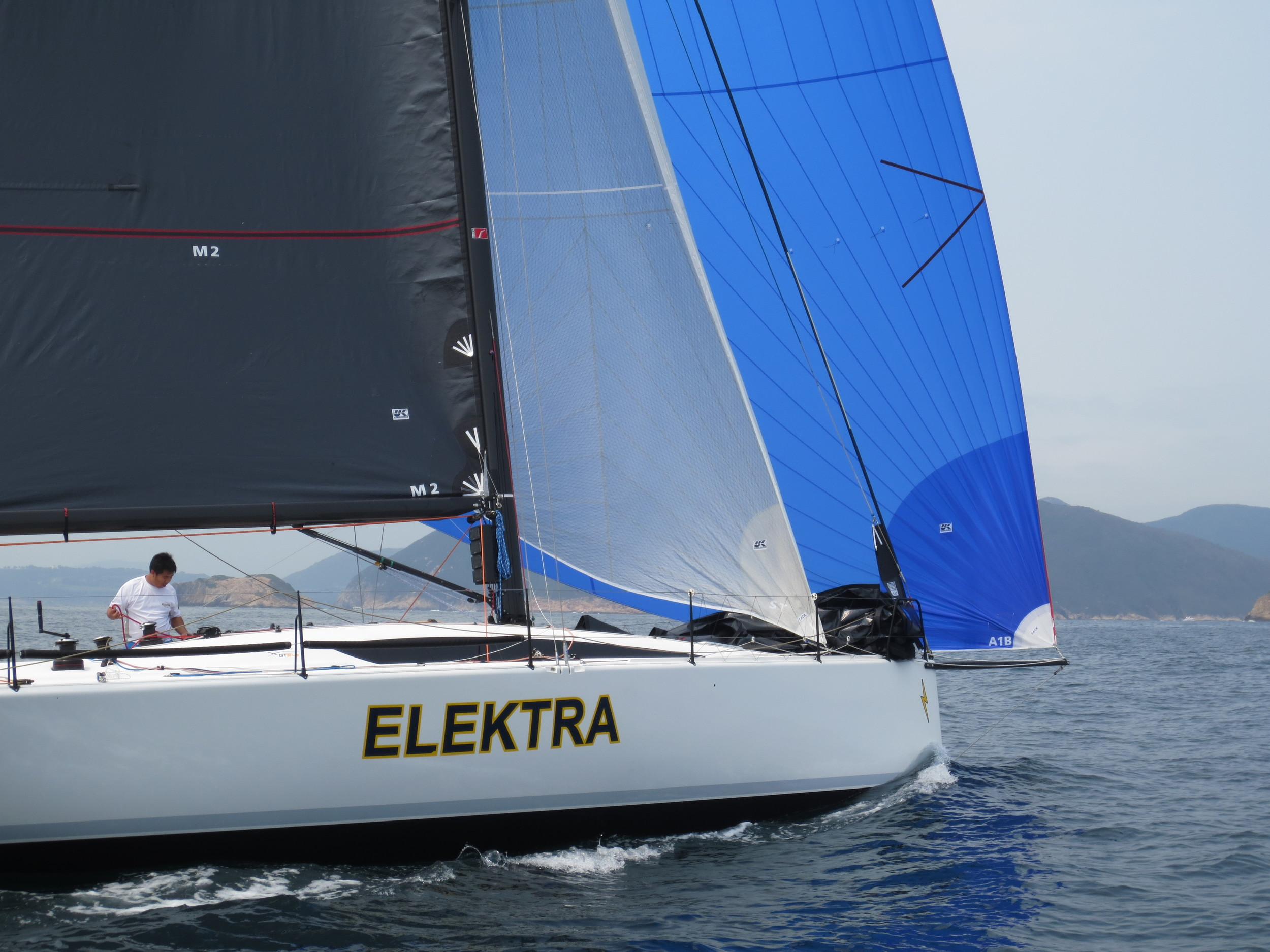 Shown above is the Sydney 43 Elektra with an A1 and staysail.