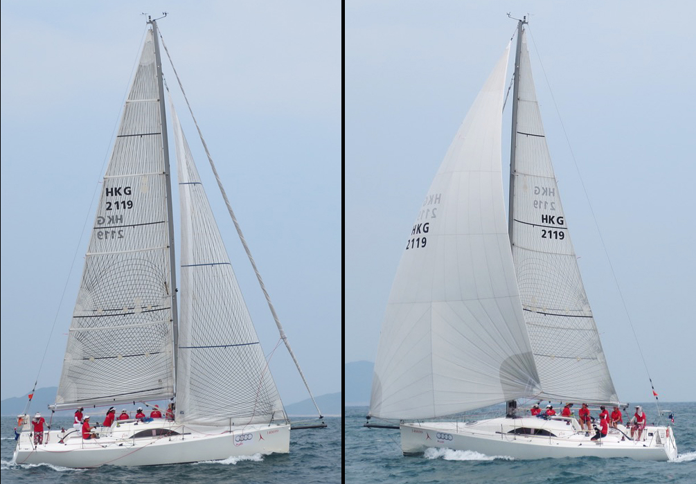 These pictures of an A35 show how much bigger the code zero is than the No. 1 jib