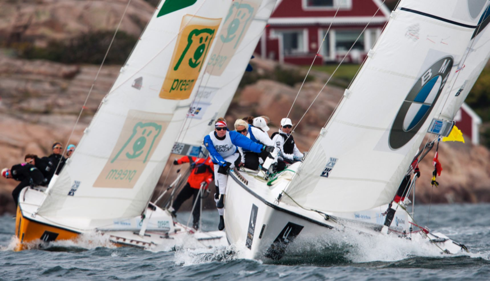 Stephanie Roble (white boat) leading Anna Östling in race two of the finals. Photo: Dan Ljungsvik LWM