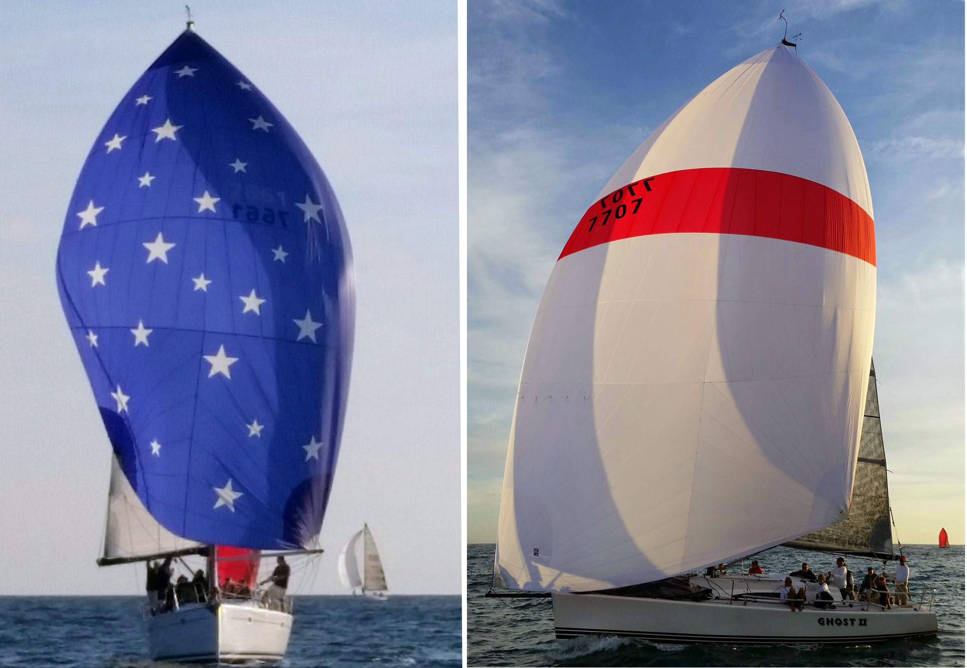 Left :Whitney Green's Jeanneau 43 PACIFIC finished 1st in class in the 2016 Pacific Cup with a complete UK Sailmakers inventory.  Right : Al Berg's Farr 395 GHOST II finished 1st in class in the 2016 Berger Series, also with a complete UK inventory.