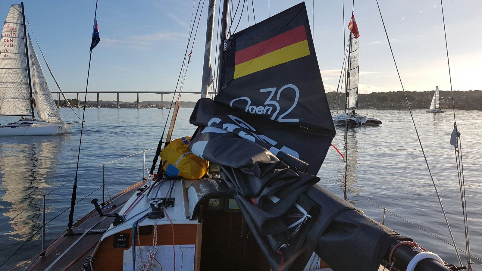 The Open 32 BLACK MAGGY, sailed a fantastic race, but could not seal the deal. Her skipper Wolle Heibeck stared at the finish line, under the bridge, for three hours while hanging on his anchor waiting for the wind to return.