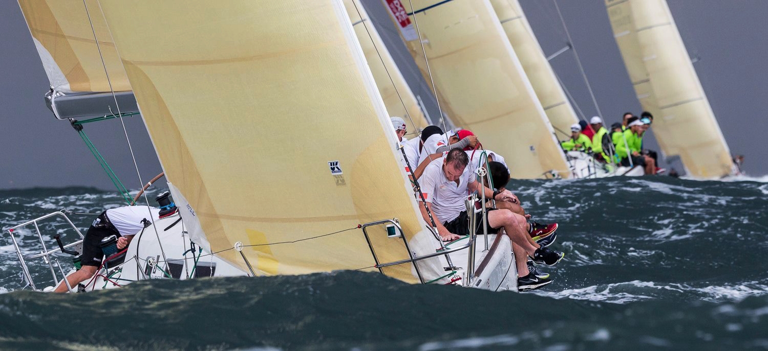 Action in the Beneteau First 40.7 one-design fleet at the 2016 China Cup International Regatta.