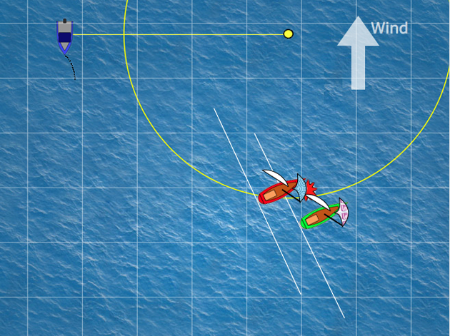 This image shows three different teaching tools that can be applied to the animated quizzes: Overlap lines, the zone and a grid where the lines are one boat length apart. Each teaching tool can be used in any combination and can be turned on and turned off. The grid can be rotated to align with the boats.