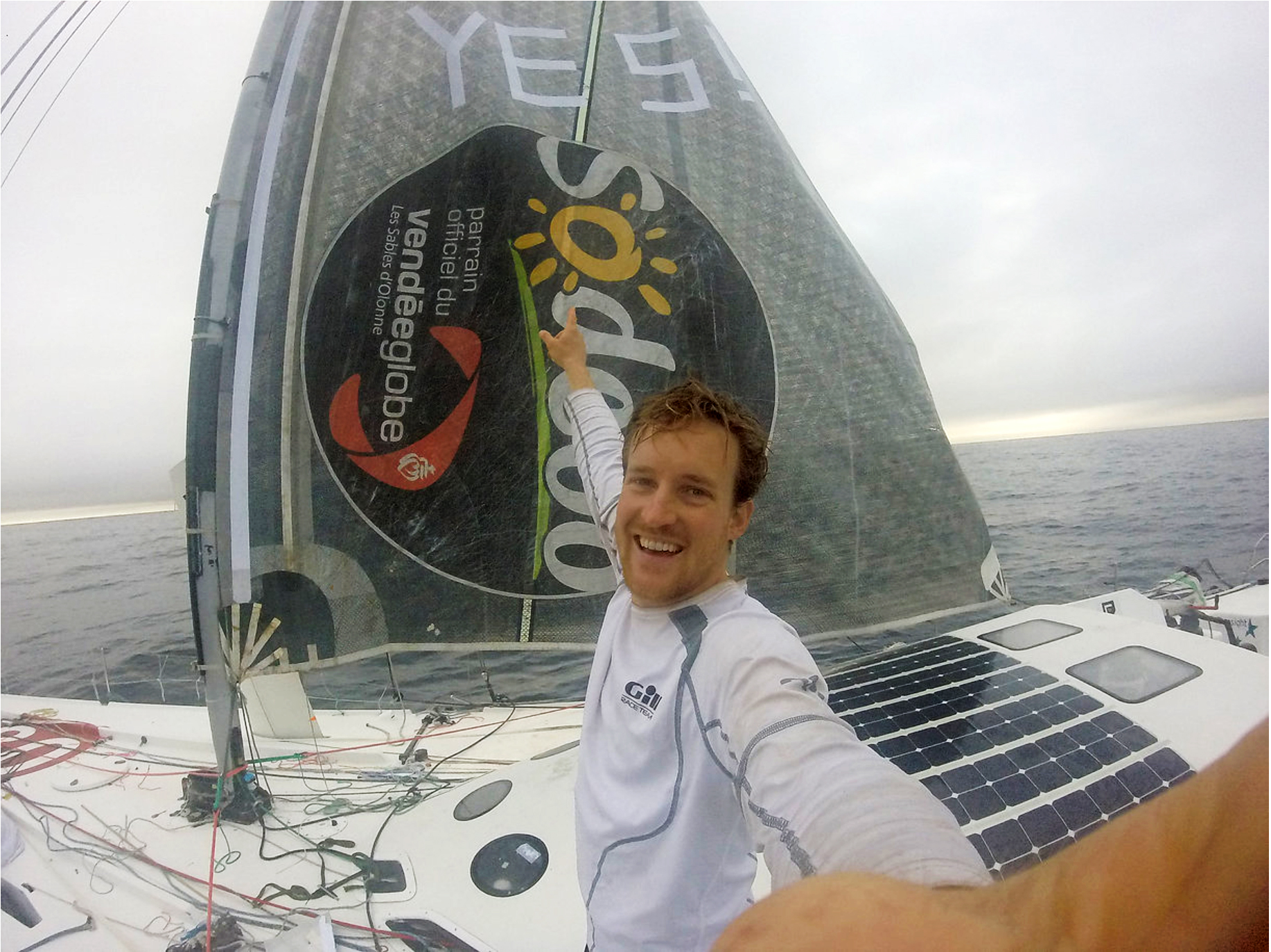 Conrad Colmam's jury rig is up and moving his boat toward the finish of the Vendee Globe.