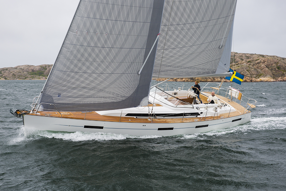 A Najad 505 with carbon X-Drive sails with grey taffeta. Both the main and jib have vertical battens for roller furling.