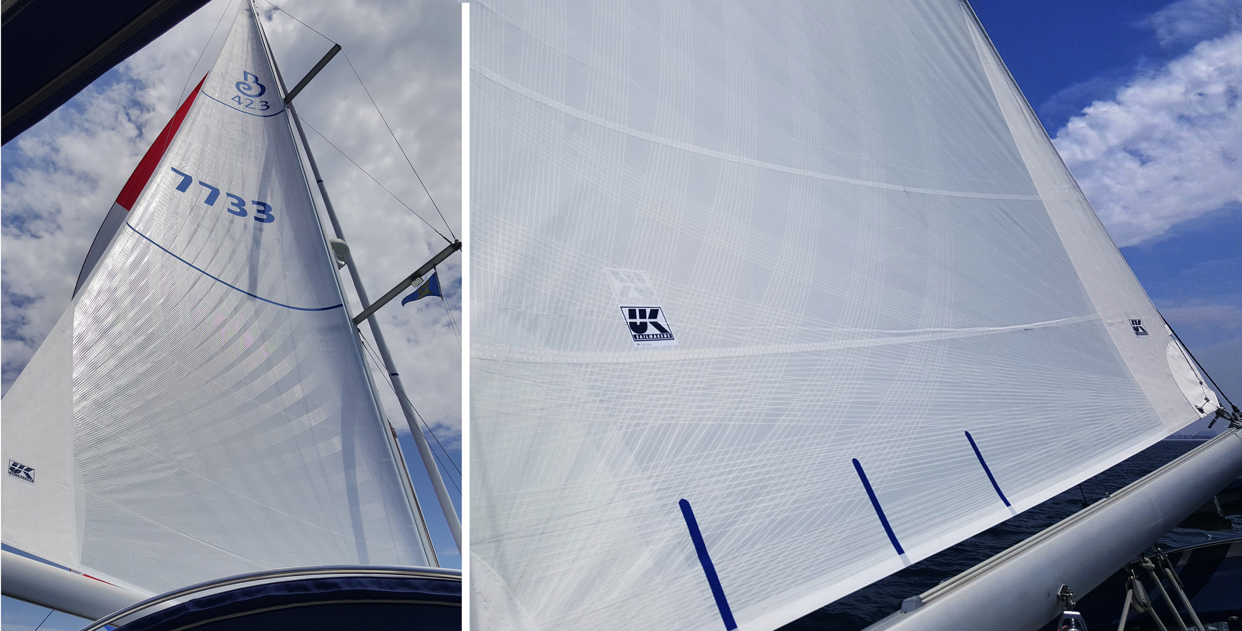 Two views of an X-Drive Silver Roller Furling main on a Beneteau 423. This is a double taffeta sail with white taffeta bonded over the continuous yarn grid as well on the second side of the sail. X-Drive Silver sails not only provide better sailing performance than basic dacron sails, but since they also roller furl better since they don't stretch and jam while being rolled into the mast.