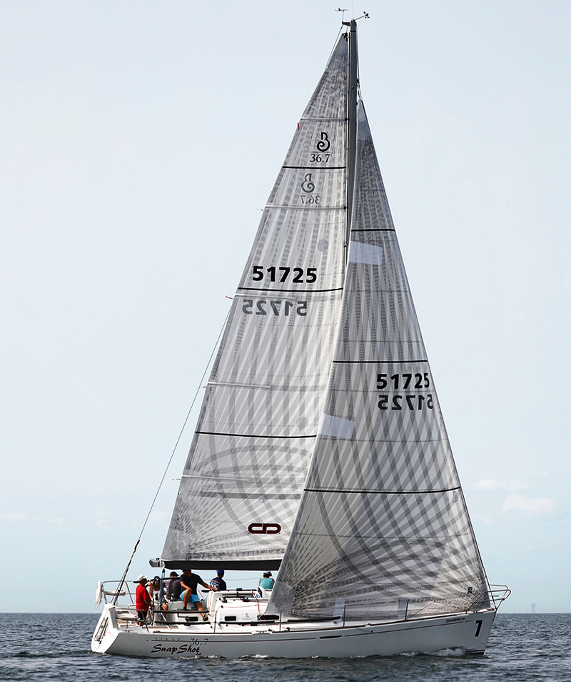 Above is the Beneteau First 36.7 SNAP SHOT racing with X-Drive Carbon/Polyester sails.