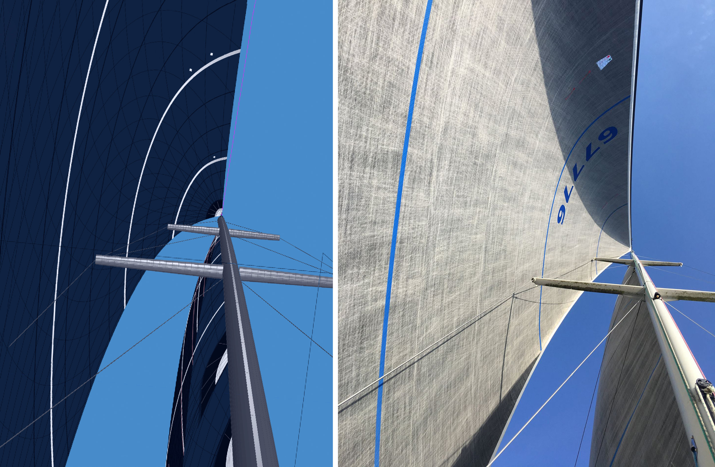On the left is a computer 3D rendering of a Light No. 1 Genoa design. On the right is the same sail flying. The design and the completed sail a re virtual match.