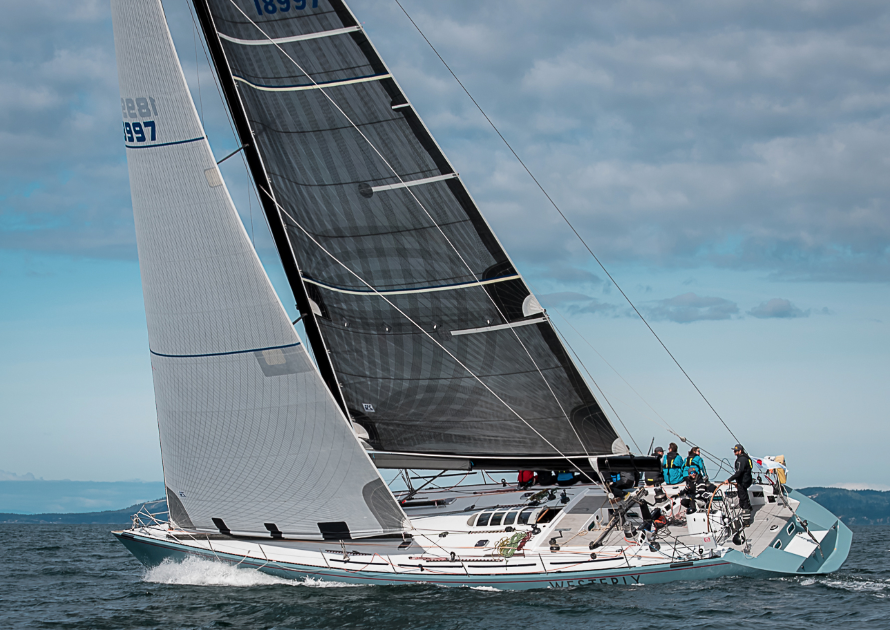 The Santa Cruz 70 WESTERLY going upwind with her X-Drive main and Tape-Drive No. 2 genoa. A big boat makes a great test platform for sails.
