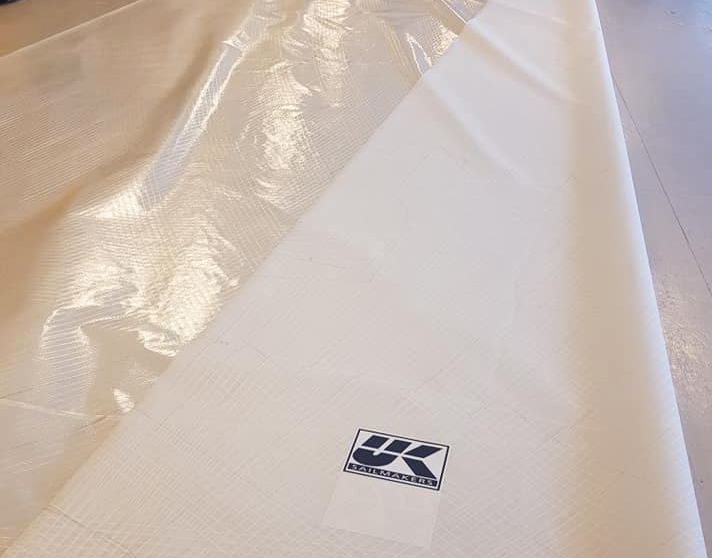 X-Drive Endure sails are made with light-weight laminates reinforced with Ultra PE or polyester scrims. The Endumax tapes are bonded to the film side of the laminate and the other side of the sail has a chafe resistant taffeta or Liteskin layer. Both sides are shown above.