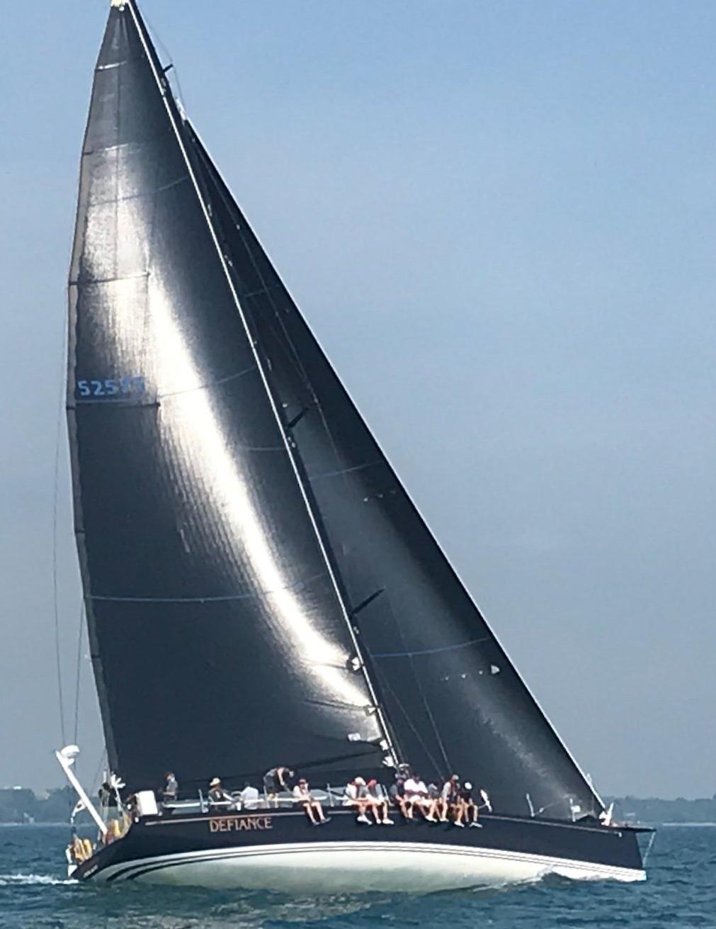DEFIANCE under sail.