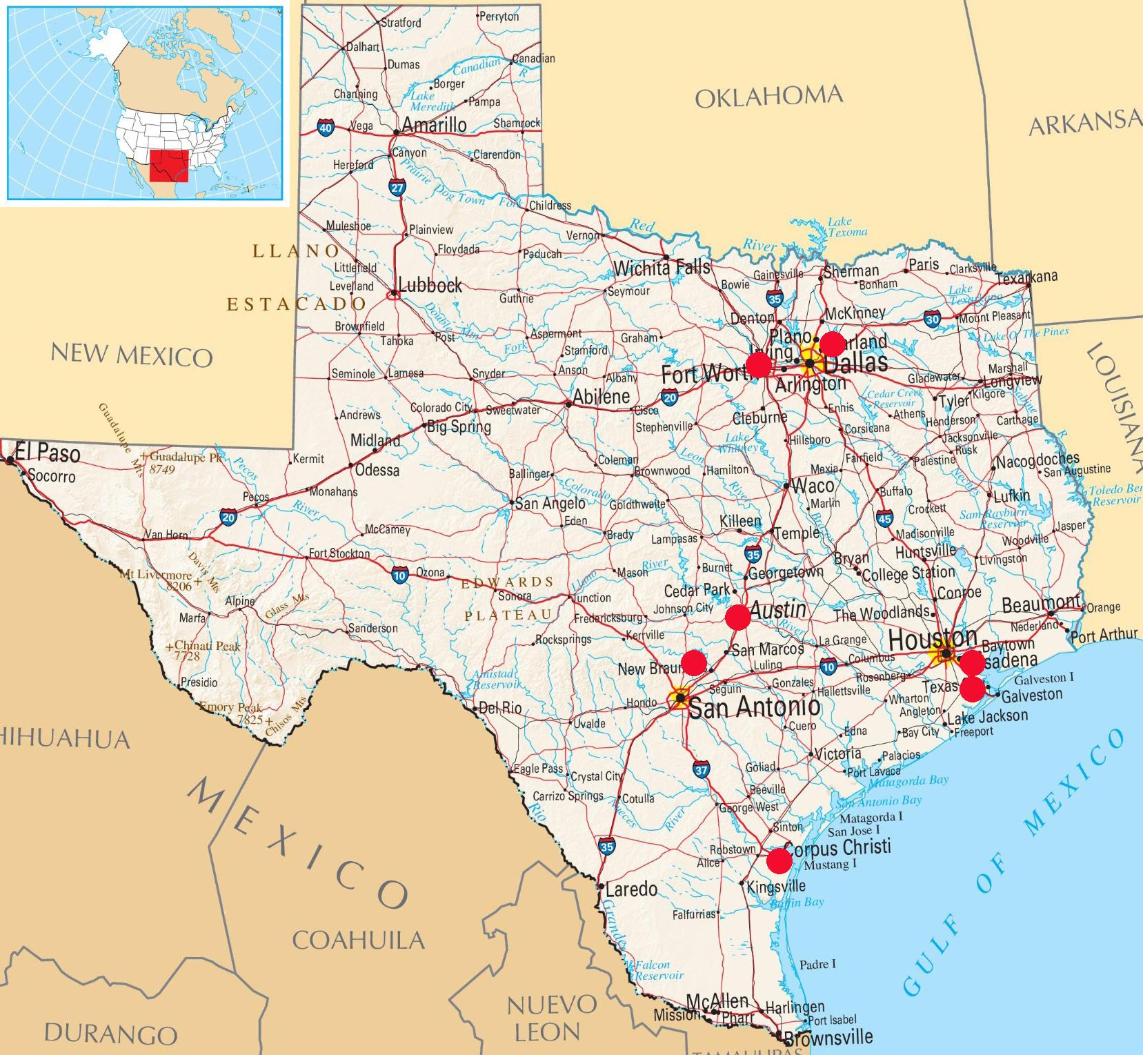 Seven stops of the Circuit: Corpus Christi,  Ft. Worth, Dallas, Austin, 2 in Houston and Lake Canyon near San Antonio.