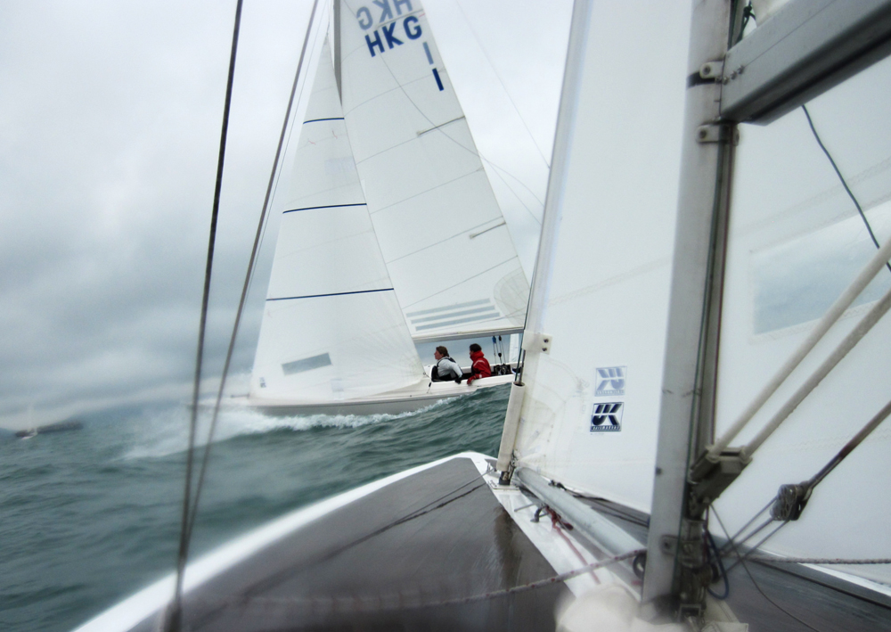 Two Dragon's with UK Sailmakers sails in Hong Kong.