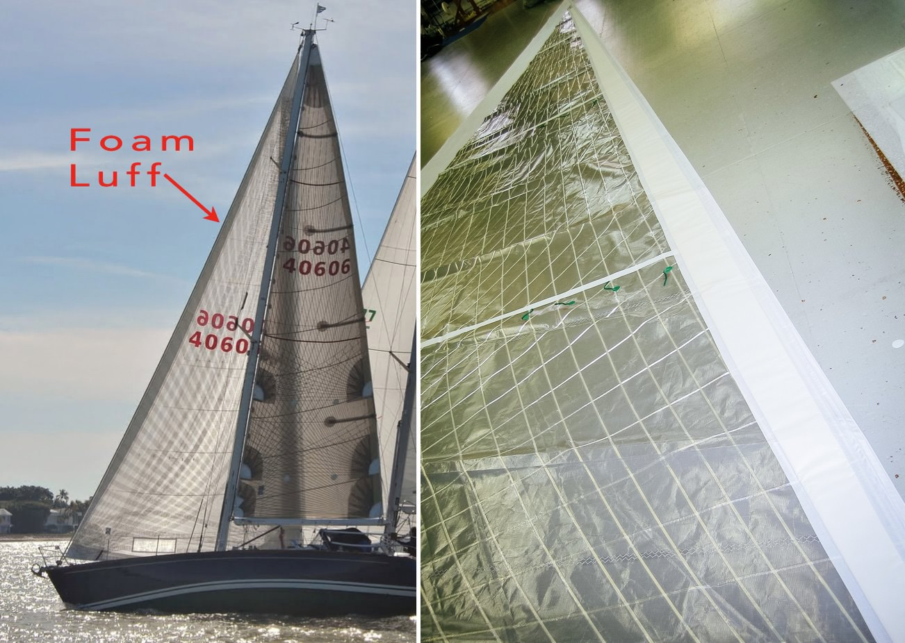 Left   : Notice the crescent shape of the thin foam piece on the luff; this makes the roll wider at the deepest part of the sail to help flatten the sail as it is reefed.    Right   : A Tape-Drive Silver sail in the midst of the construction process with a foam luff.