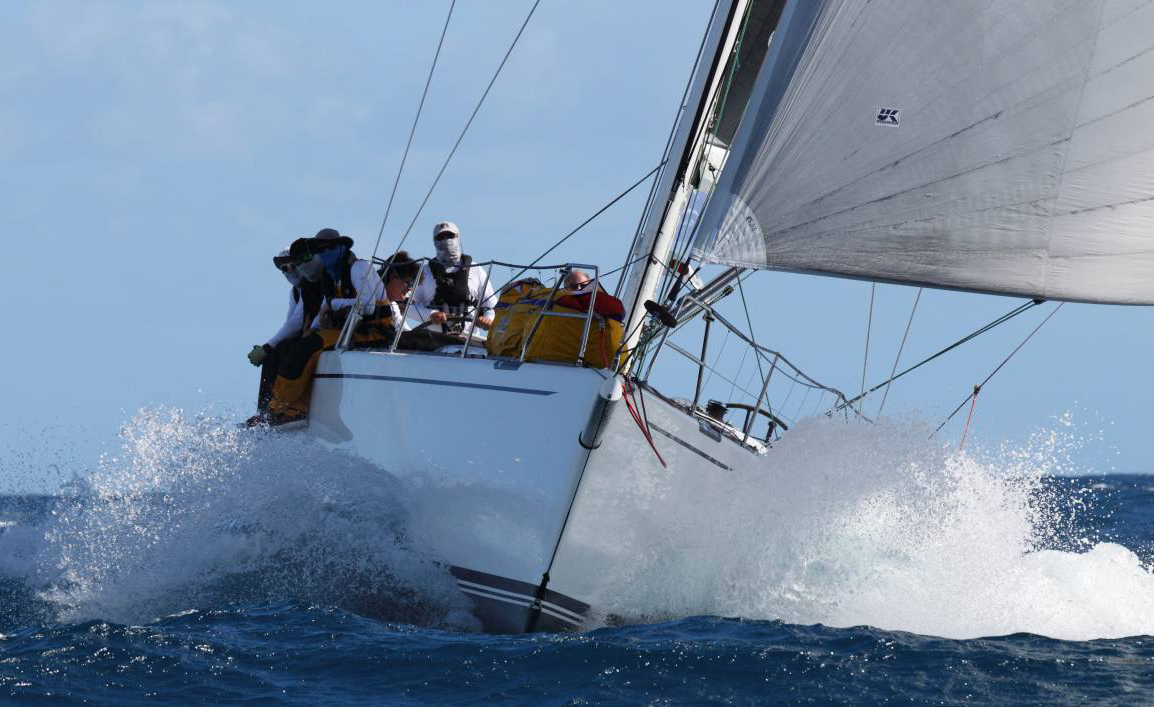 Andrew Berdon pushing his Marten 49 SUMMER STORM through the Caribbean's azure waters to second place in IRC 1 in the 2019 RORC Caribbean 600.