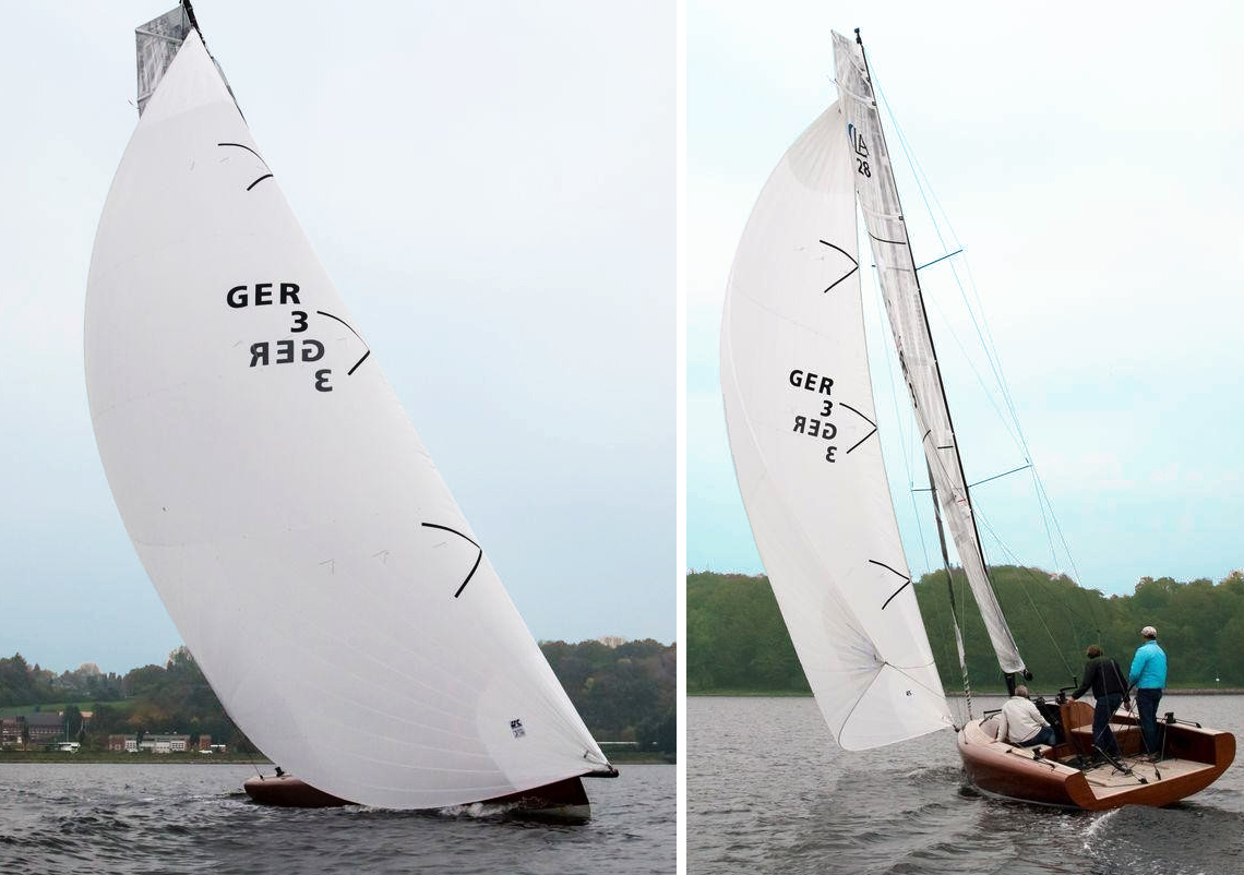 "The EasyFurl Code D's straight luff is the reason the sail can be rolled easily. Here the Code D is shown on a Berckemeyer LA28. On this boat,the furler is electric and remotely controlled making the Code D ""push-button"" easy."