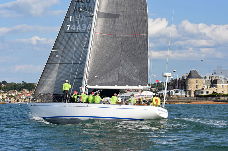 HIRO MARU approaching the finish line off the Royal Yacht Squadron's castle on the Isle of Wight.