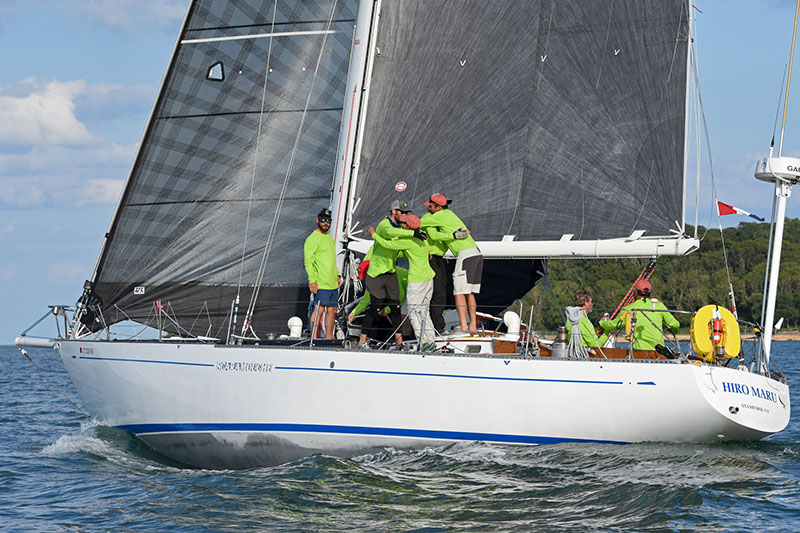 HIRO MARU's crew celebrating after winning IRC 3 in the 2019 Transatlantic Race.