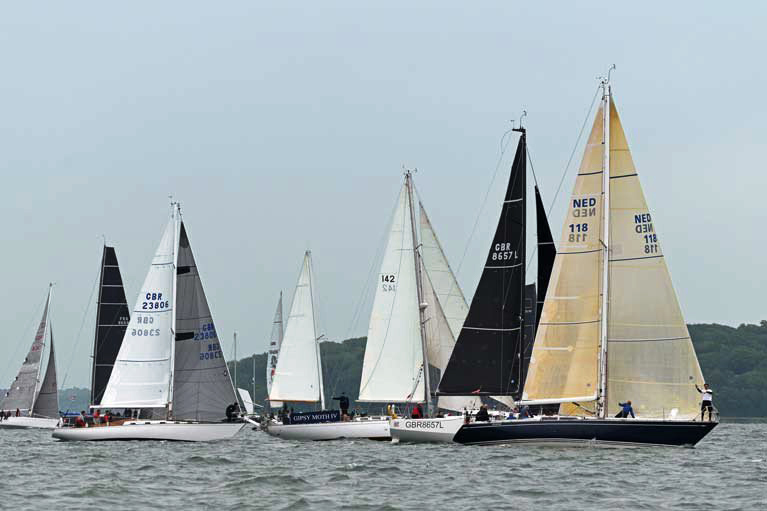 The Swan 36 FINOLA (GBR 23806) and the S&S 41 WINSOME (NED 118) on the starting line of the 2019 RORC Channel Race.