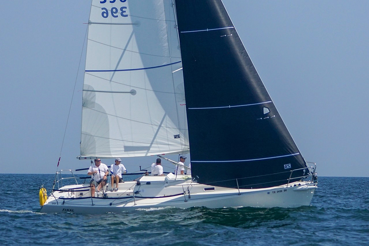 Ken Horne's J/105 FINAL FINAL racing upwind with her UK Titanium class jib and dacron class main.