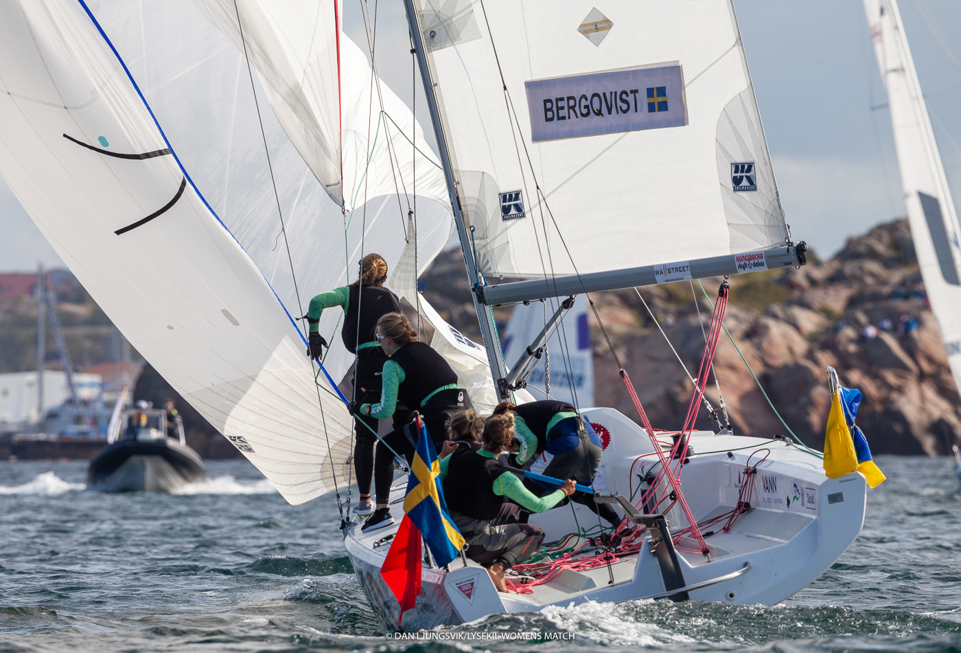 "The Women's Match Racing World Championship was sailed in Lysekil, Sweden this August in Fareast 28Rs equipped with UK Sailmakers sails. Shown above is one of the Swedish teams doing a ""Late Main Gybe."" See the article and video below on how to do this race winning gybing technique."