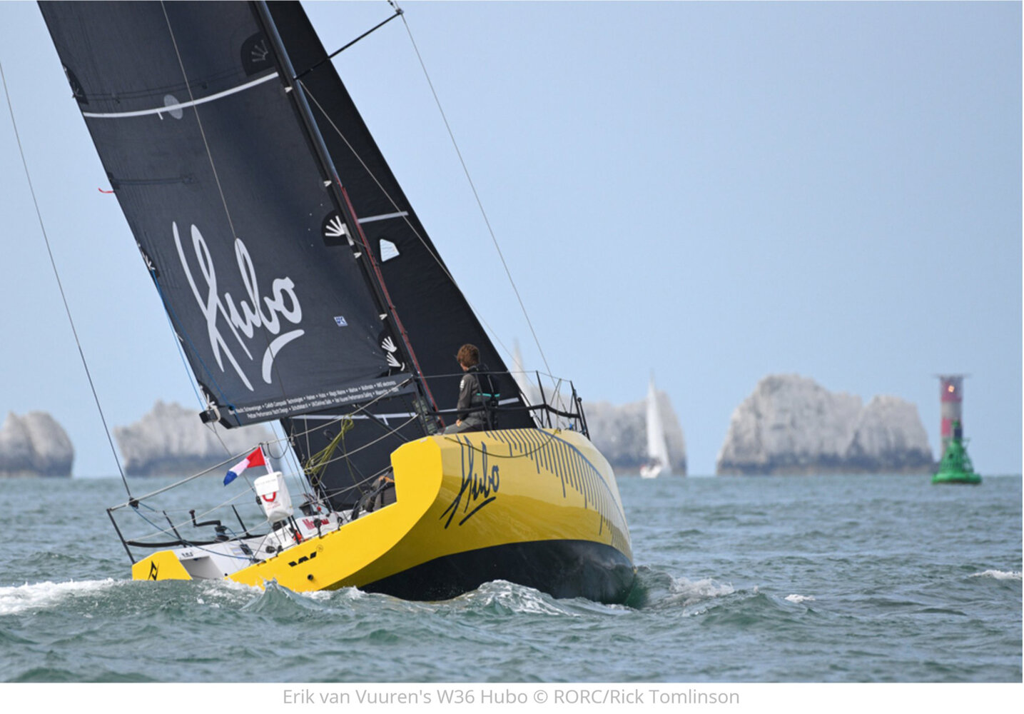 Left   : Jochem Schoorl and Eric van Vuuren.    Above   : HUBO approaching the Needles at the west end of the Isle of Wight.