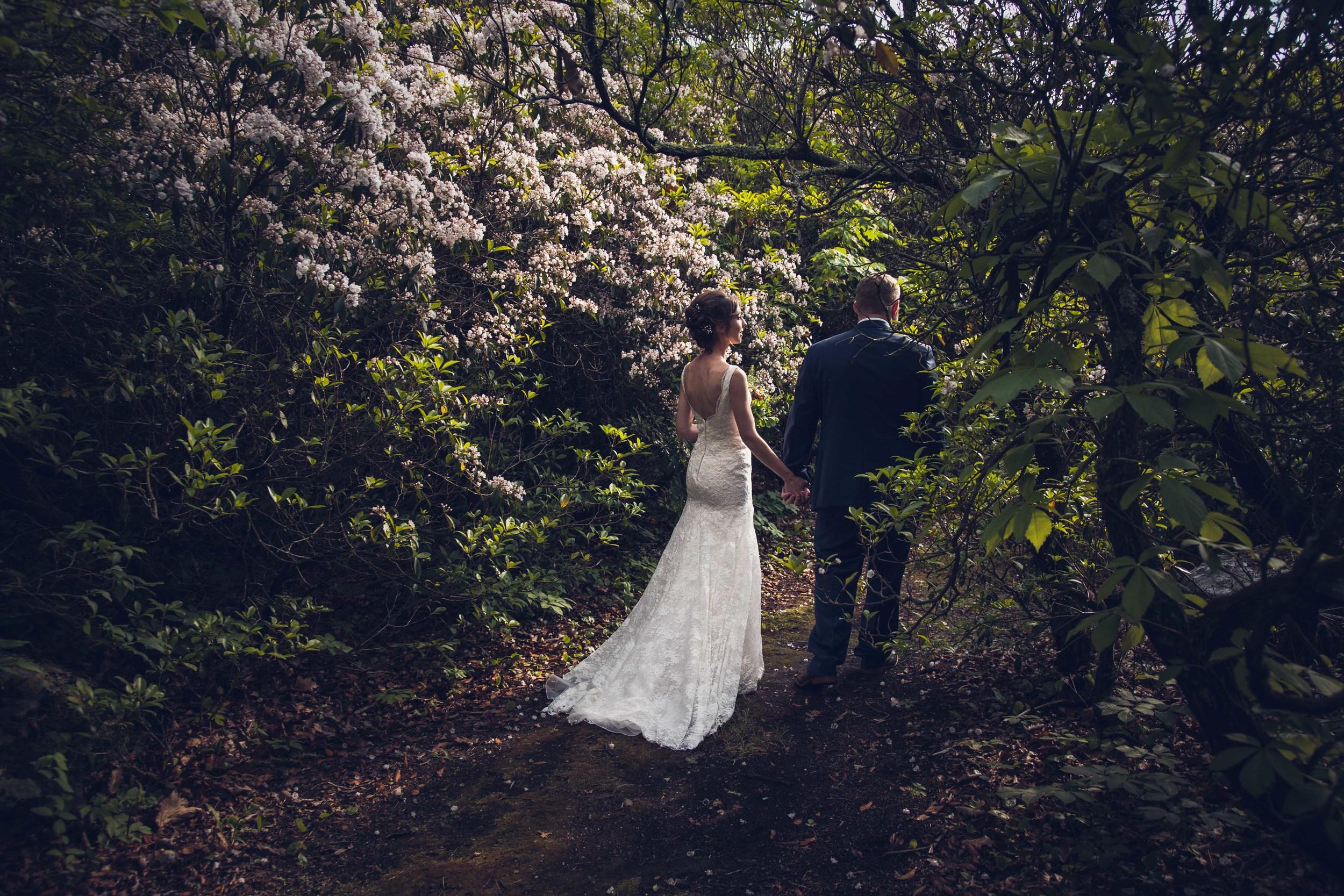 bride groom walking through woods