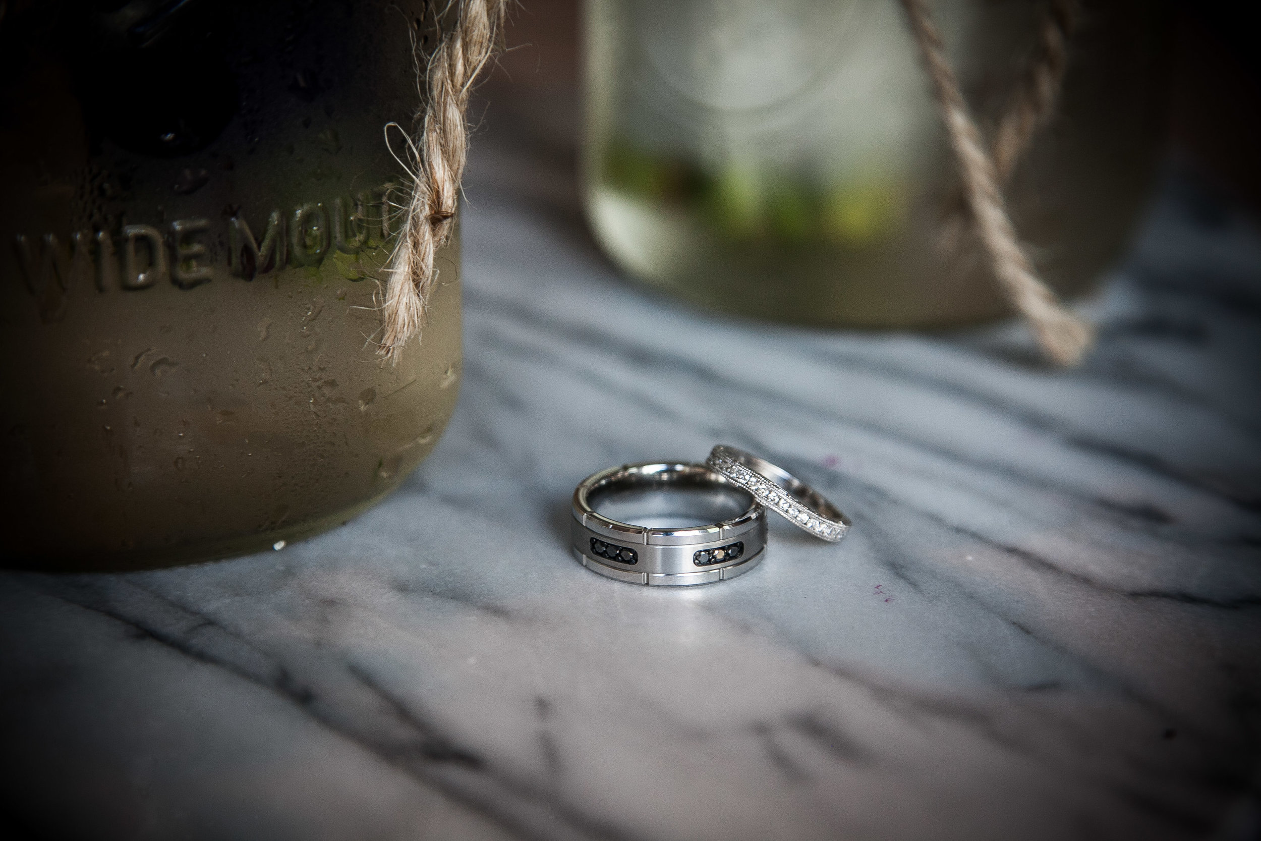 rings with marble and mason jars