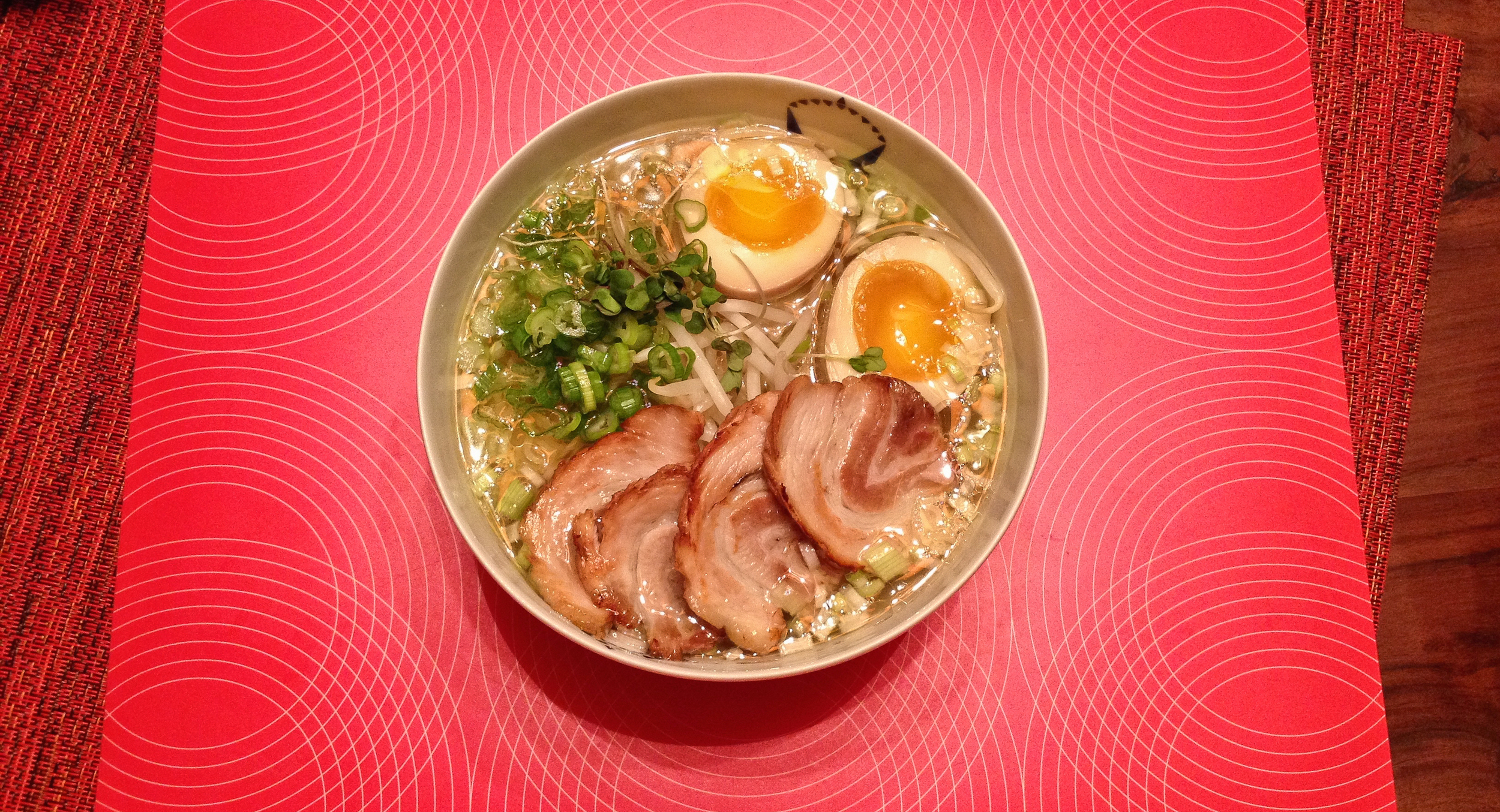 Chicken soup doesn't seem complete without a pile of pork on top. Some of our ramen, November 2014.