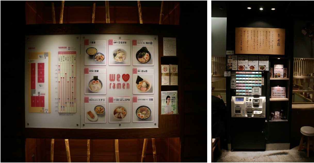 """Tokyo Station """"Ramen Street.""""  Restaurant choices (left). Ramen ticket machine (right). This is how you pay at most ramen shops in Japan: pay the machine, get a ticket, hand it to the restaurant staff. The ramen comes to your table. You eat it, then walk out when you're done."""