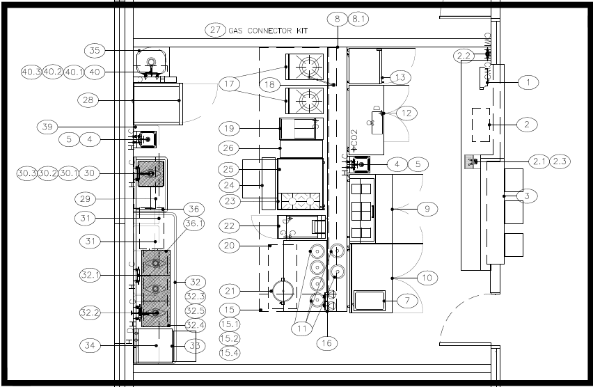 """Preliminary (Top) and Final (Bottom).  You can see what changed from the preliminary design. Among other things, we reduced the number of gas ranges from 6 to 2, shrunk the size of the griddle and rice cooker, and reoriented the process flow by moving the two stockpot ranges off to the side and out of the live prep area. Bottom center is where the ramen action happens. The soup and noodles are assembled on the prep surface in between the noodle cooker (22) and the broth-containing heating wells (11). The partially assembled bowl is passed over a short """"pony wall."""" to a finishing station across from the bar/point of sale."""