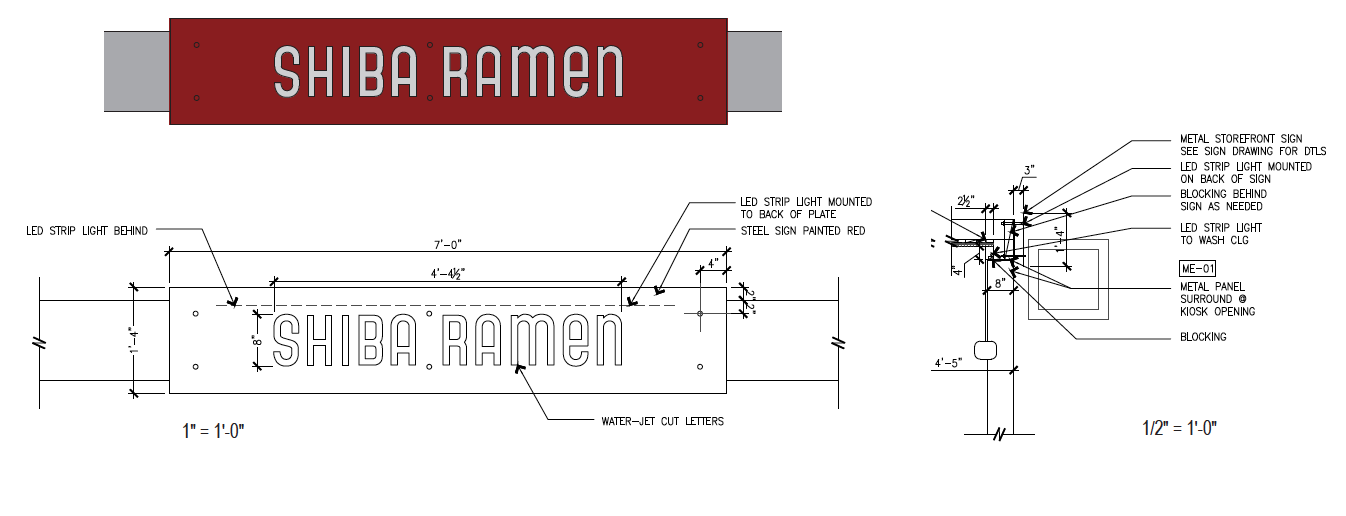 Shiba Ramen Signage Diagram.   Let's design a restaurant to go with it.