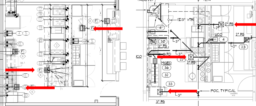 Exhibit B, Left:  Kitchen designer's original plans. Sink at lower left located away from dishwasher 33. Sink in middle located under table 6, away from pasta cooker 22.  Exhibit C, Right:  Construction drawing version. Sink at lower left now located under dishwasher 33. Sink in middle located under pasta cooker 22.  The sinks were away from the equipment in the original drawings, but were under the equipment in the construction drawings. That was the problem.