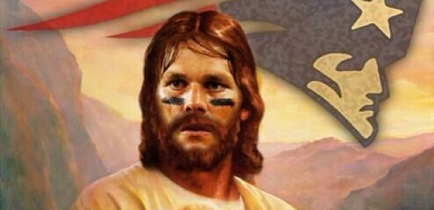 Tom Brady as Jesus.  This stuff is all over the Internet, seriously. Vespasian was referring to the Romans' practice of state-sanctioned worship of deceased emperors.
