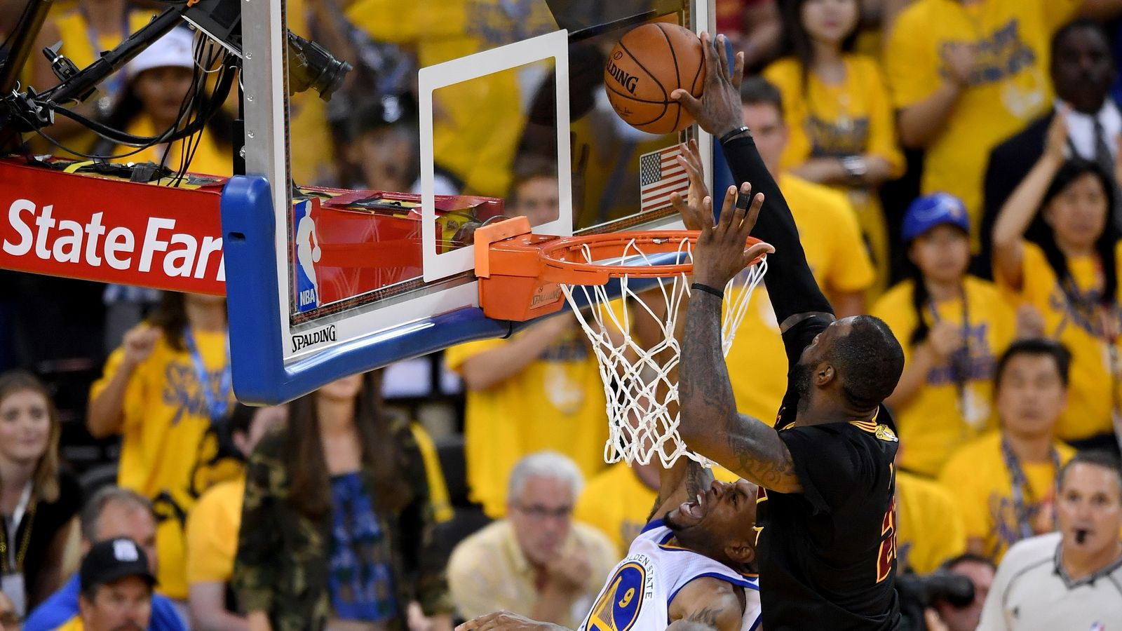 The Block.  LeBron seals the Cavs victory over the Warriors in the 2016 NBA Finals. This play has its own  Wikipedia  page.
